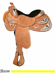 "14.5"" to 17"" Circle Y Cutout Cross Select Show Saddle 2958 w/Free Pad"