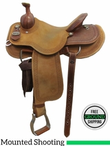 "PRICE REDUCED! 14.5"" Circle Y Dan Byrd Super Shooter 2721 Mounted Shooting Saddle, Wide Tree, Demo Saddle uscy3031 *Free Shipping*"