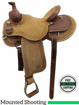 """SOLD 2016/09/21  PRICE REDUCED! 14.5"""" Circle Y Dan Byrd Super Shooter 2721 Mounted Shooting Saddle, Wide Tree, Floor Model uscy3038 *Free Shipping*"""