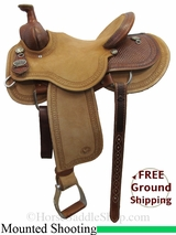 "14.5"" Circle Y Dan Byrd Super Shooter 2721 Mounted Shooting Saddle, Wide Tree, Floor Model uscy3038 *Free Shipping*"