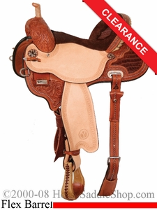 "SOLD 2014/07/09 $2205 14.5"" Circle Y Kelly Kaminski Studded Croc Flex2 Barrel Racer 1539"