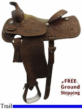 "PRICE REDUCED! 14.5"" Used Billy Cook Martha Josey Trail Saddle, Wide Tree usbi3217 *Free Shipping*"