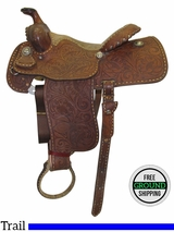 "14.5"" Used Billy Cook Martha Josey Wide Trail Saddle usbi3217 *Free Shipping*"