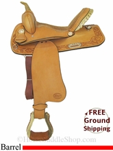 "14.5"" Used Teskey's Saddle Shop Barrel Racing Saddle, Wide Tree usts2860 *Free Shipping*"