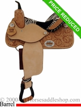"14"" Alamo Zebra Barrel Racing Saddle 1234-zb"
