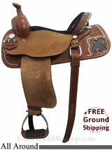 "PRICE REDUCED! 14"" Circle Y Mesa Leavitt 2728 All Around Saddle, Wide Tree, Demo Saddle uscy3029 *Free Shipping*"