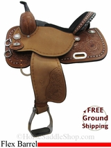 "14"" Circle Y Sherrylynn Johnson Pocket 1501 Flex2 Barrel Saddle, Wide Tree, Floor Model uscy3028 *Free Shipping*"