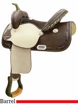 """14"""" to 16"""" Billy Cook Spotted Feather Barrel Saddle 291265"""