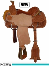 "14"" to 16"" Circle Y Wyoming Flower Tooled Roping Saddle 2779 w/Free Pad"