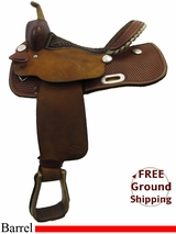 "14"" Used Billy Cook Barrel Racing Saddle, Wide Tree usbi3218 *Free Shipping*"