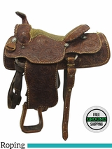 "PRICE REDUCED! 14"" Used Billy Cook- Greenville Texas Vintage Wide Roper Saddle usbg3525 *Free Shipping*"