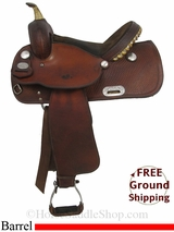 """SOLD 2014/10/23 $926 14"""" Used Crates Barrel Racing Saddle uscr2881 *Free Shipping*"""
