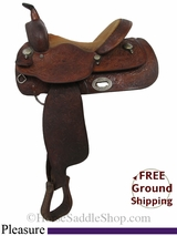 """SOLD 2015/03/16 14"""" Used Long Horn Pleasure Saddle, Wide Tree uslh2932 *Free Shipping*"""
