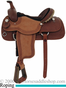 "15"" to 17"" Alamo Caramel Toast Waffle Tooled Roughout Bowman Roper Saddle 1008"