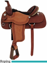 "** SALE ** 15"" to 17"" Alamo Caramel Toast Waffle Tooled Roughout Bowman Roper Saddle 1008"
