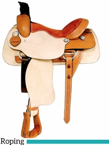 "** SALE ** 15"" to 17"" Dakota Roughout Roping Saddle 502"