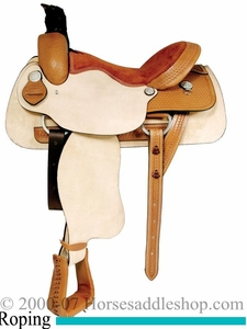 15inch 16inch 17inch Dakota Roping Saddle - Roughout