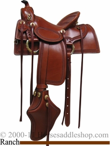 "15"" 16"" 17"" Old West Ranch Trail Saddle Rocking R 2202"