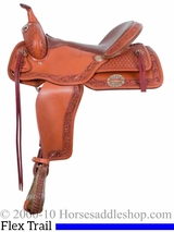 "15"" to 17"" Alamo Caramel Toast Border Tooled Flex Tree Trail Saddle 1067"