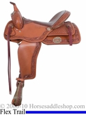 "** SALE **15"" 16"" Alamo Caramel Toast Border Tooled Flex Tree Trail Saddle 1067"