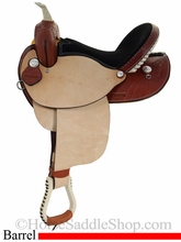 "15"" 16"" Dakota Oak Leaf Barrel Racing Saddle 300"