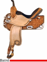 "15"" 16"" Tex Tan Silver Show Racer Barrel Saddle 292229"