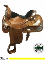 "SOLD 2016/12/11 15.5"" Used Big Horn Wide Show Saddle 1976 usbh3626 *Free Shipping*"