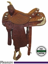 "PRICE REDUCED!  15.5"" Used Circle Y Custom Wide Pleasure Saddle uscy3458 *Free Shipping*"