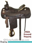 "PRICE REDUCED! 15.5"" Used Crates Roping Saddle uscr2584 *Free Shipping*"