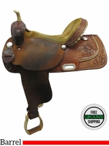 "15.5"" Used Custom Ranch Saddlery Wide Barrel Saddle CL1131 uscs3521 *Free Shipping*"