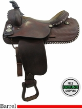 """PRICE REDUCED! 15.5"""" Used Longhorn Barrel Racing Saddle, Wide Tree uslh3157 *Free Shipping*"""