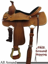 """SOLD 2015/10/05 15.5"""" Used Reinsman All Around Saddle usrs3230 *Free Shipping*"""