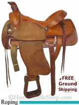 "SOLD 2014/09/05 $699 PRICE REDUCED! 15.5"" Used RH Horton Roping Saddle usrh2739 *Free Shipping*"