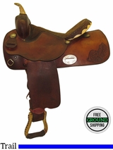 "PRICE REDUCED!  15.5"" Used Simco Medium Trail Saddle 3850-50 ussm3457 *Free Shipping*"