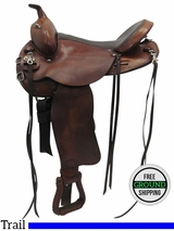 "PRICE REDUCED!  15.5"" Used Tex Tan Medium Trail Saddle 08-TF901S55 ustt3398 *Free Shipping*"