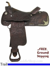 "PRICE REDUCED! 15.5"" Used Tex Tan Trail Saddle ustt2922 *Free Shipping*"