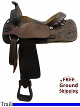 "PRICE REDUCED! 15.5"" Used Tex Tan Trail Saddle ustt3198 *Free Shipping*"