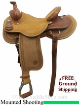 "15"" Circle Y Dan Byrd Super Shooter 2721 Mounted Shooting Saddle, Wide Tree, Floor Model uscy3040 *Free Shipping*"