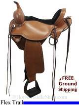 "PRICE REDUCED! 15"" Circle Y Flagstaff 1571 Flex2 Trail Saddle, Extra Wide Tree, Floor Model uscy3099 *Free Shipping*"
