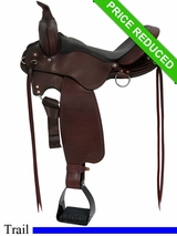 "15"" Fabtron Cross Trail Leather Saddle w/ Tack Package 7752"