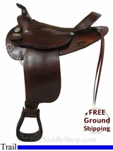 """SOLD 2014/11/11 $615 15"""" Used Big Horn Trail Saddle, Extra Wide usbh2909 *Free Shipping*"""