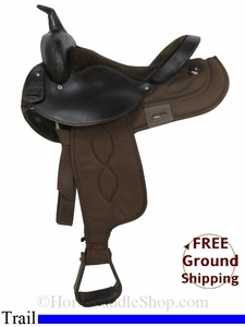 "SOLD 2014/09/30 $427.50 PRICE REDUCED! 15"" Used Big Horn Trail Saddle, Wide Tree usbh2852 *Free Shipping*"