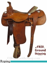 """SOLD 2014/11/09 $899 15"""" Used Billy Cook Roping Saddle, Wide Tree usbi2903 *Free Shipping*"""