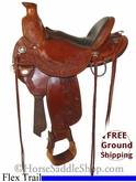 "SOLD 2014/02/24 $1399 PRICE REDUCED! 15"" Used Circle Y Flex2 Trail Saddle, Wide Tree uscy2694 *Free Shipping*"