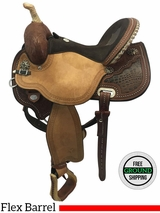 "15"" Used Circle Y Kelly Kaminski Studded Croc Medium Flex Barrel Racer 1539 uscy3632 *Free Shipping*"