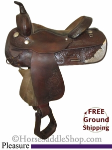 "SOLD 2014/10/03 $540.85 PRICE REDUCED! 15"" Used Circle Y Pleasure Saddle uscy2614 *Free Shipping*"