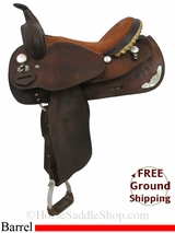 "PRICE REDUCED! 15"" Used Crates Barrel Racing Saddle uscr2940 *Free Shipping*"