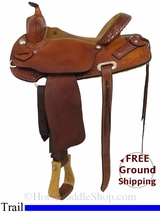 "15"" Used Herring Saddle Co. Trail Saddle, Wide Tree ushs2964 *Free Shipping*"