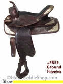 "SOLD 11/30/13 $550 15"" Used Hilason Saddlery Show Saddle, Wide Tree ushn2696 *Free Shipping*"