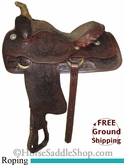 "15"" Used Ozark Leather Co. Roping Saddle, Wide Tree usol2579 *Free Shipping*"
